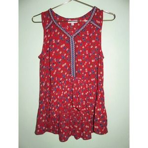 NEW Patrons of Peace Red Floral Embroidered Tank